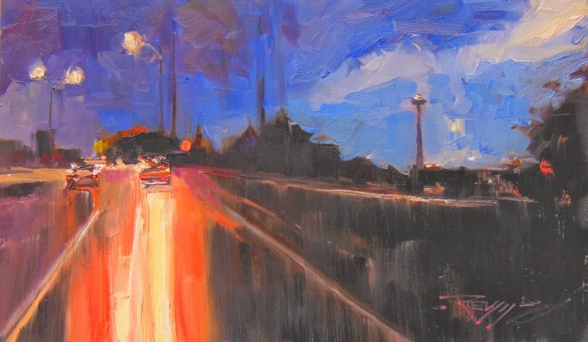 """Highway to Seattle  Seattle cityscape by Robin Weiss"" original fine art by Robin Weiss"