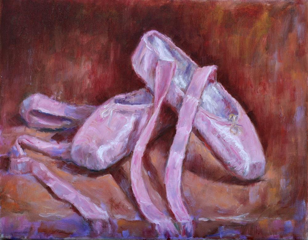 """Pink satin ballet shoes."" original fine art by Phyllis McAdams"