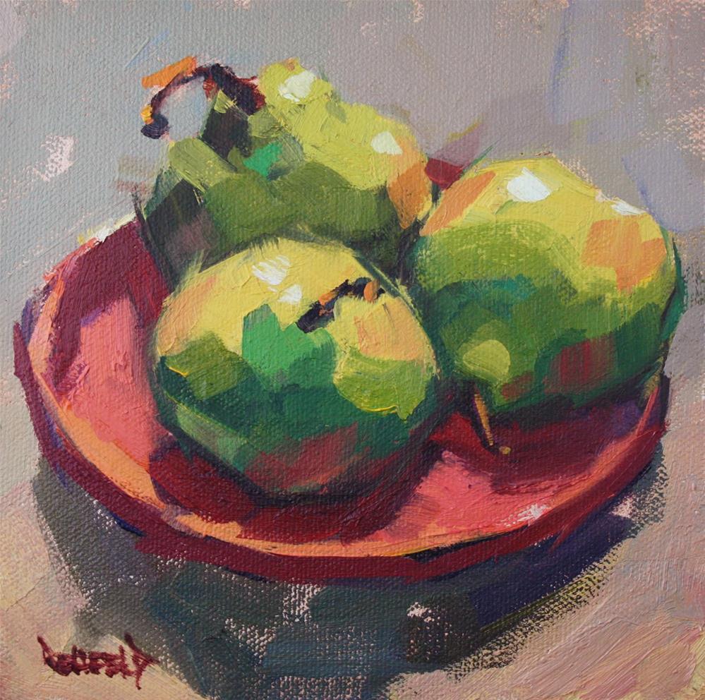 """""""Pondering Pears"""" original fine art by Cathleen Rehfeld"""