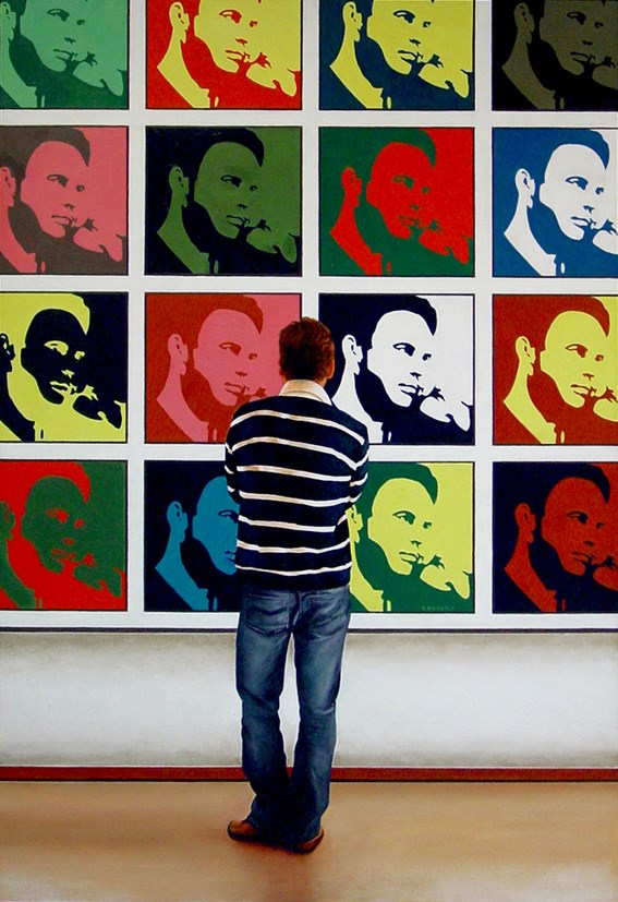 """Me, Me, Me! - 17 Self Portraits In 1 Painting"" original fine art by Gerard Boersma"