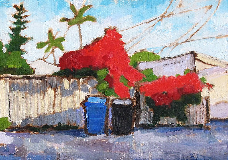 """Bougainvillea and Recycling Bins"" original fine art by Kevin Inman"