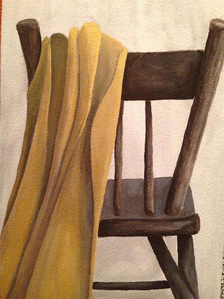 """Chair with Blanket"" original fine art by Karen Collins"