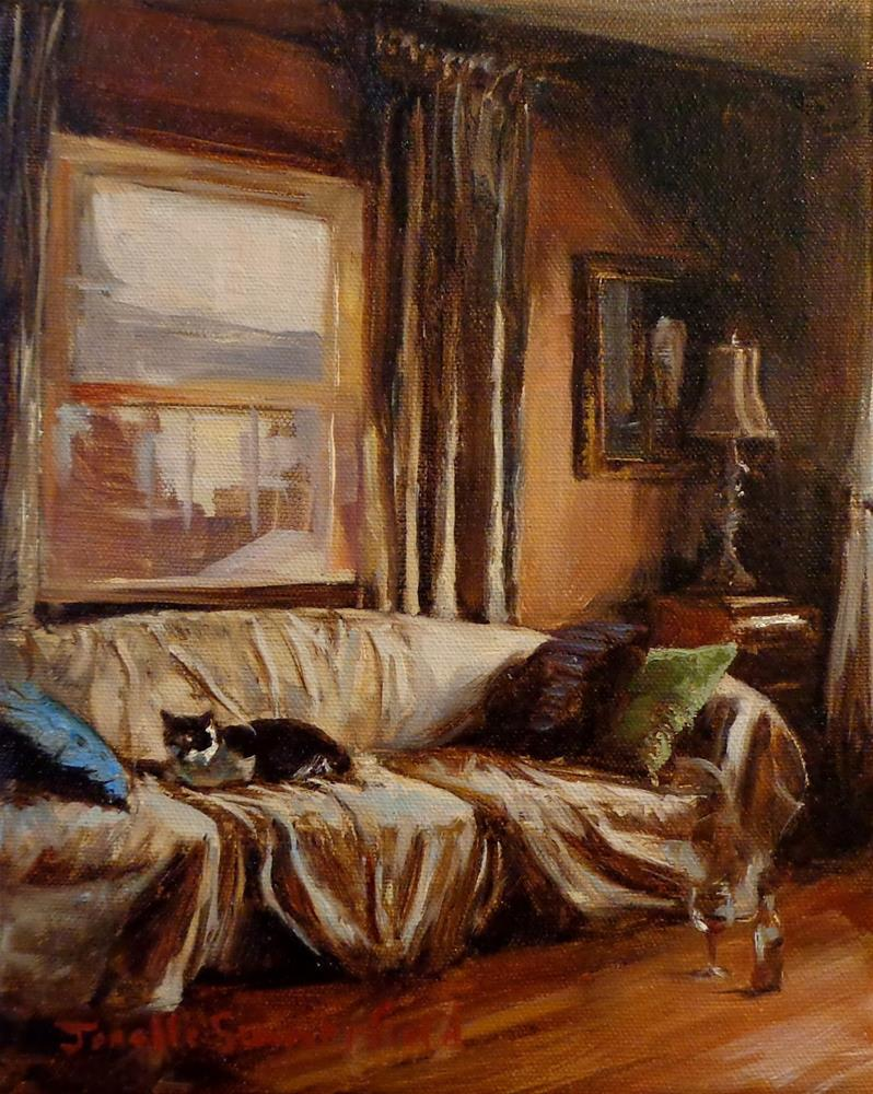 """Cat on a Messy Sofa"" original fine art by Jonelle Summerfield"