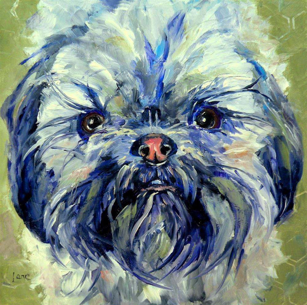 """LARRY ORIGINAL PET PORTRAIT © SAUNDRA LANE GALLOWAY"" original fine art by Saundra Lane Galloway"