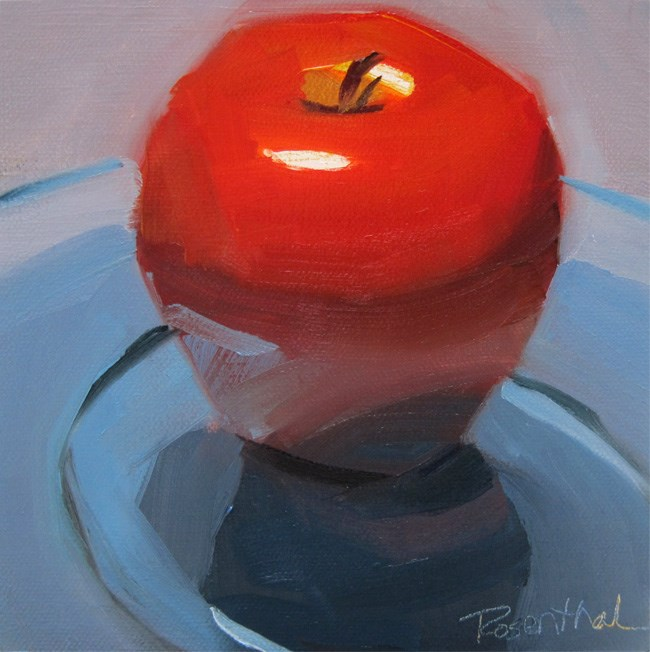 """Red Apple Blue Glass Plate"" original fine art by Robin Rosenthal"
