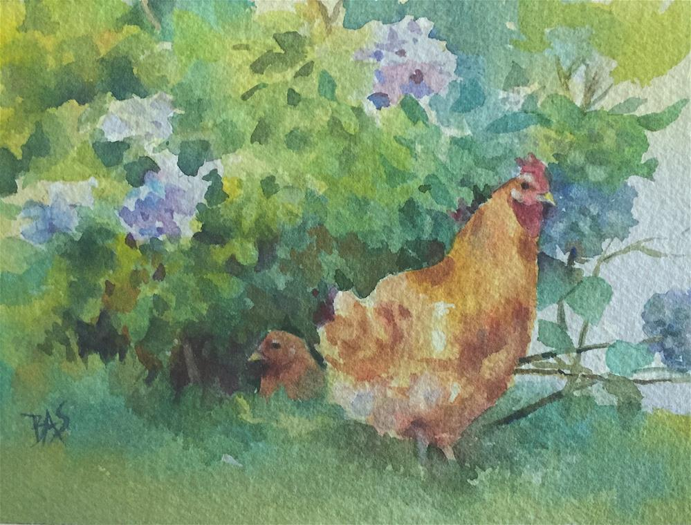 """Chickens In The Hydrangeas"" original fine art by Barbara Scheihing"