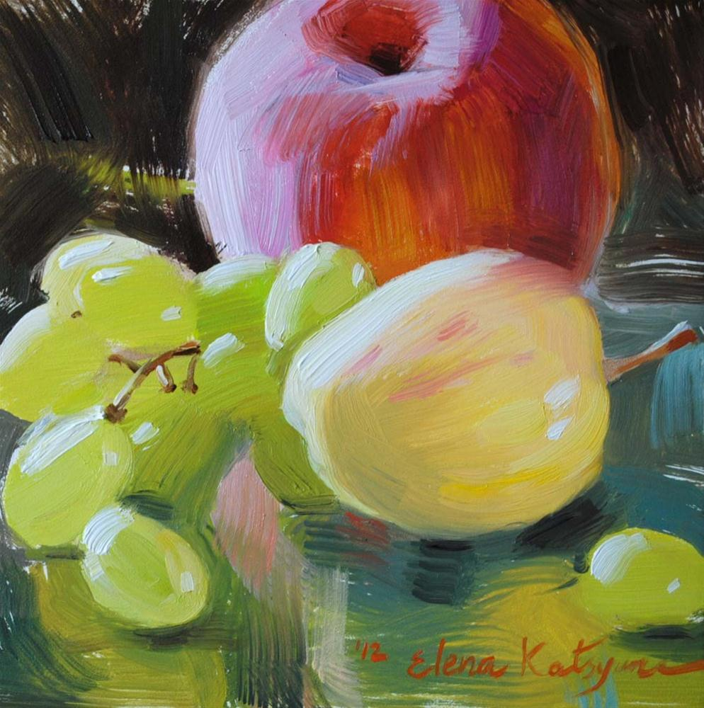 """Peach, Grapes and Apple"" original fine art by Elena Katsyura"