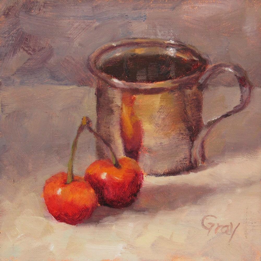"""Rainier Cherries & Silver Cup"" original fine art by Naomi Gray"