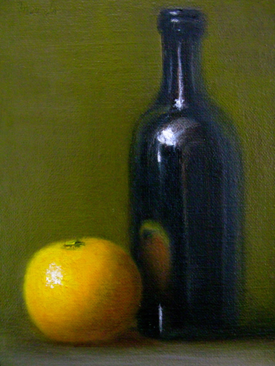 """Reflections: Still Life with Orange and Bottle"" original fine art by MeeLi Lee"