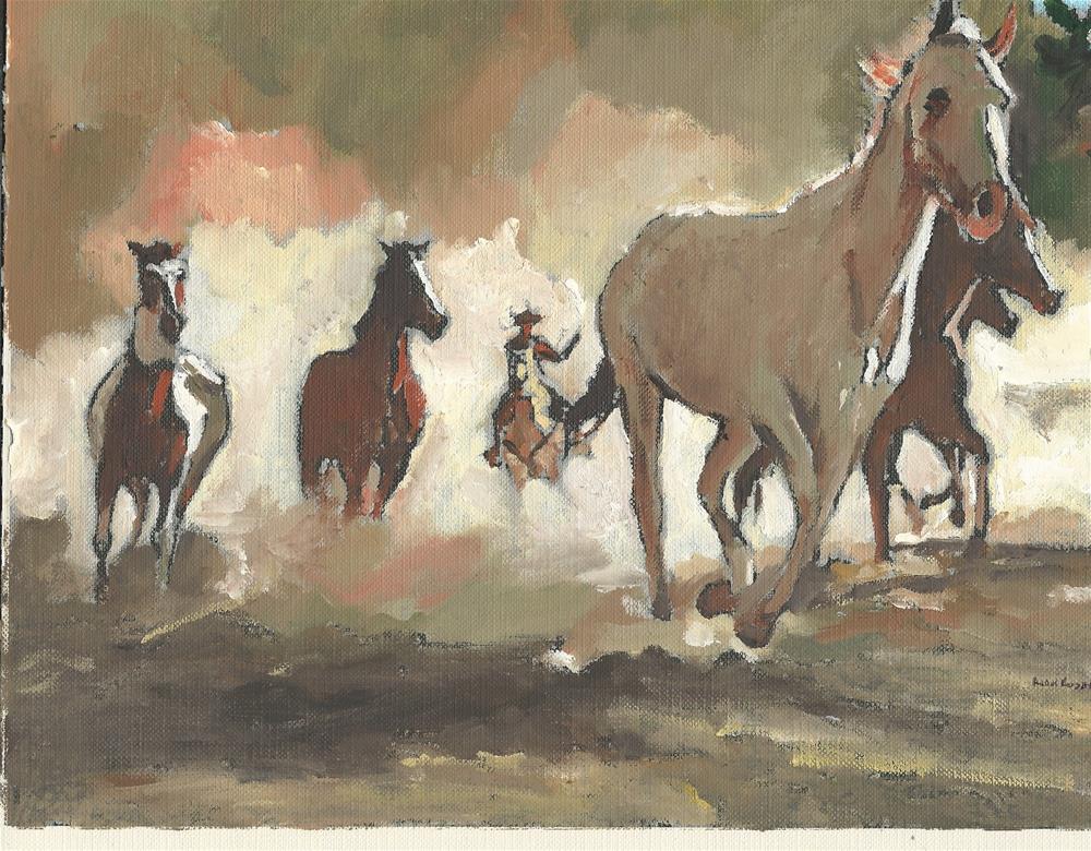 """Wild Horse #5 (8 x 10 oil on canvas sheet - no frame)"" original fine art by Ramon DelRosario"
