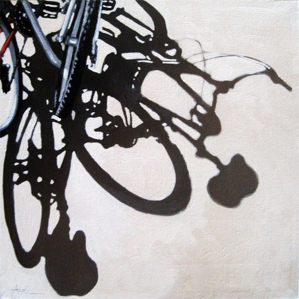 """Two for One bicycle art city scene original oil painting"" original fine art by Linda Apple"