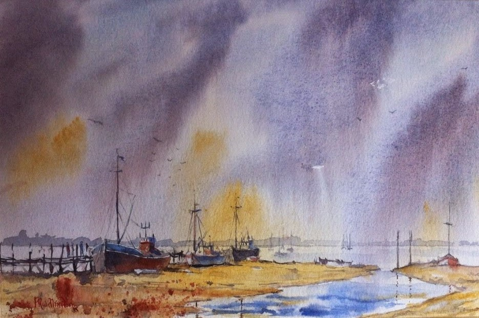 """""""Moored on the Thames - Fishing Boats"""" original fine art by Peter Wellington"""