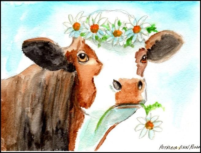"""""""Daisy the Cow"""" original fine art by Patricia Ann Rizzo"""