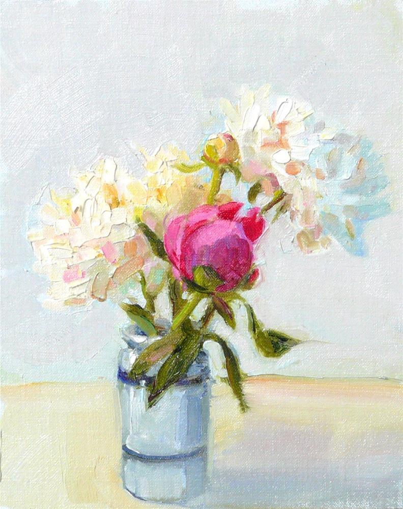 """Garden Peonies,still life,oil on linen,10x8,price$300"" original fine art by Joy Olney"