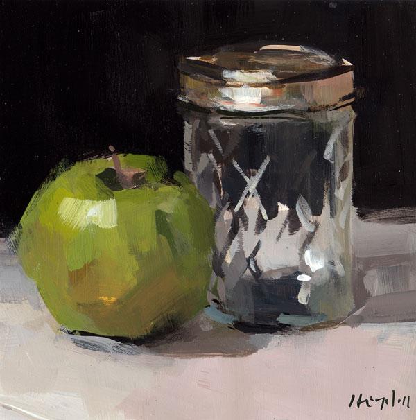 """Apple and Small Mason Jar"" original fine art by David Lloyd"
