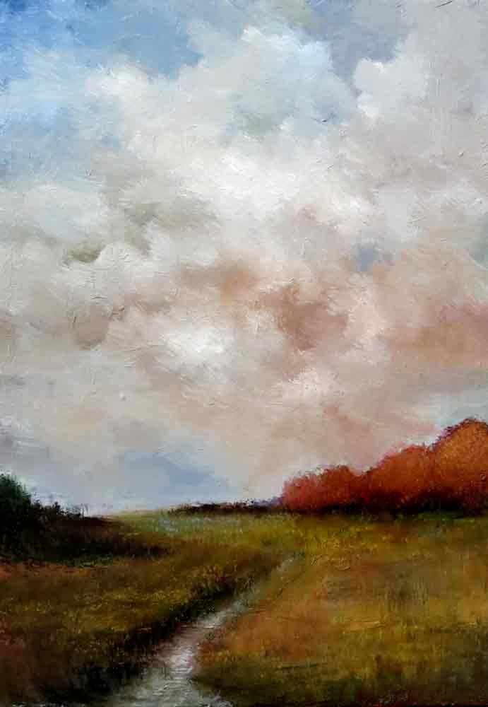 """""""Distant Red Trees"""" original fine art by Bob Kimball"""