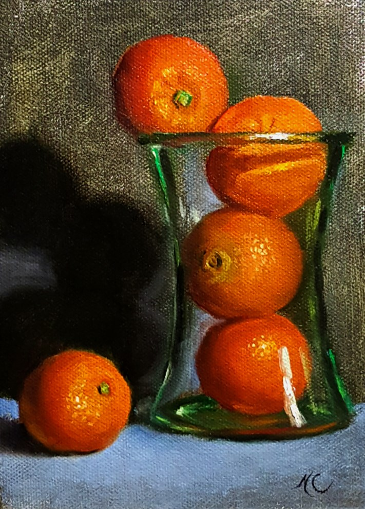 """Still life with oranges in vase"" original fine art by Natalia Clarke"