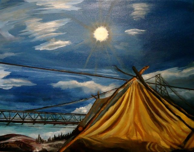 """Ross River Footbridge"" original fine art by Jackie Irvine"