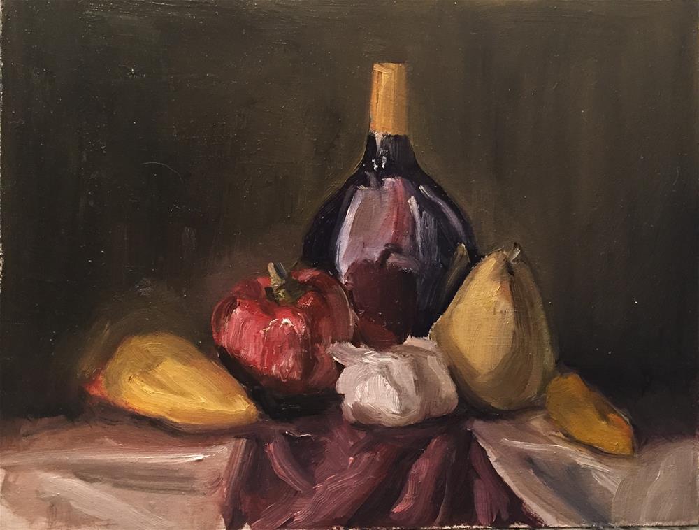 """Still Life Fruit with Bottle"" original fine art by Rick Blankenship"