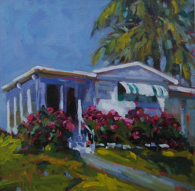 """A Little Piece of Paradise 8x8 Mobile homes have so much charm."" original fine art by Mary Sheehan Winn"