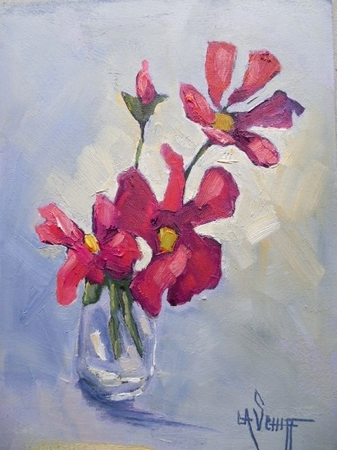 """Daily Painting, Floral Painting, Small Oil Painting, 6x8 pink flower art"" original fine art by Carol Schiff"