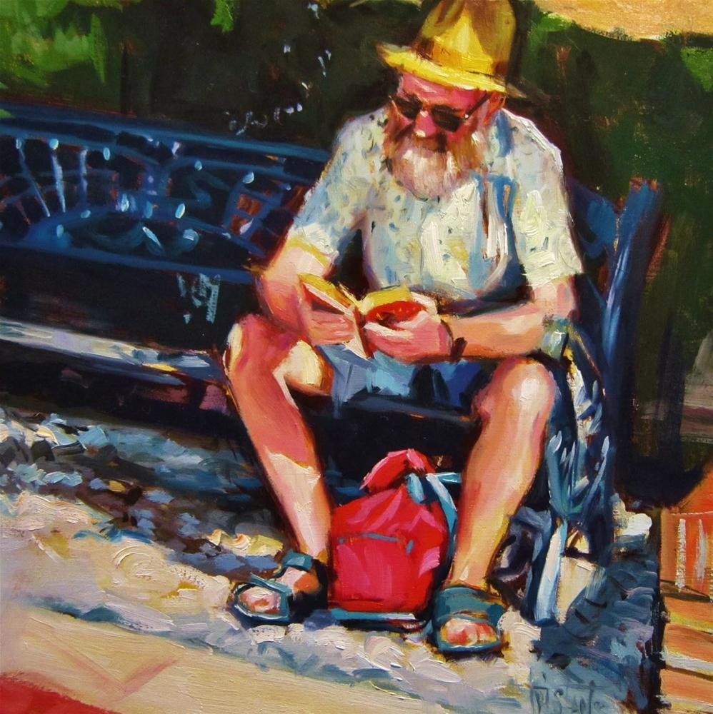 """Reading at park"" original fine art by Víctor Tristante"
