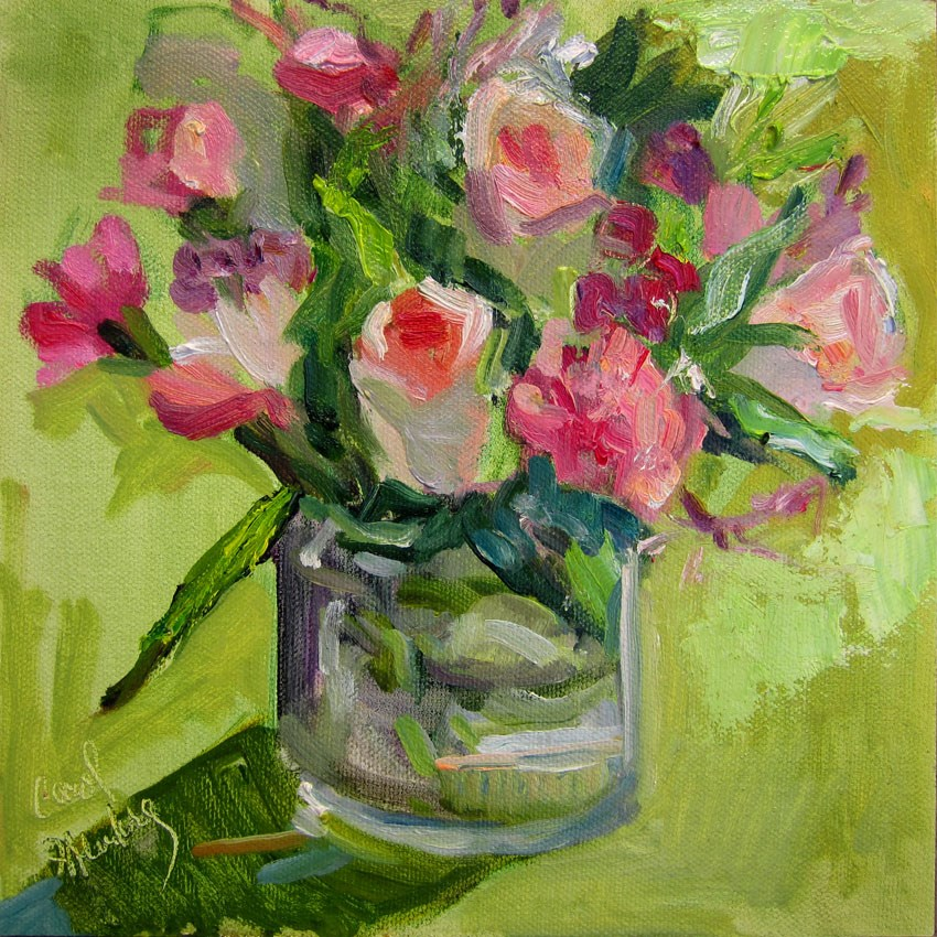 """Pink Roses Posey, Green"" original fine art by Carol Steinberg"