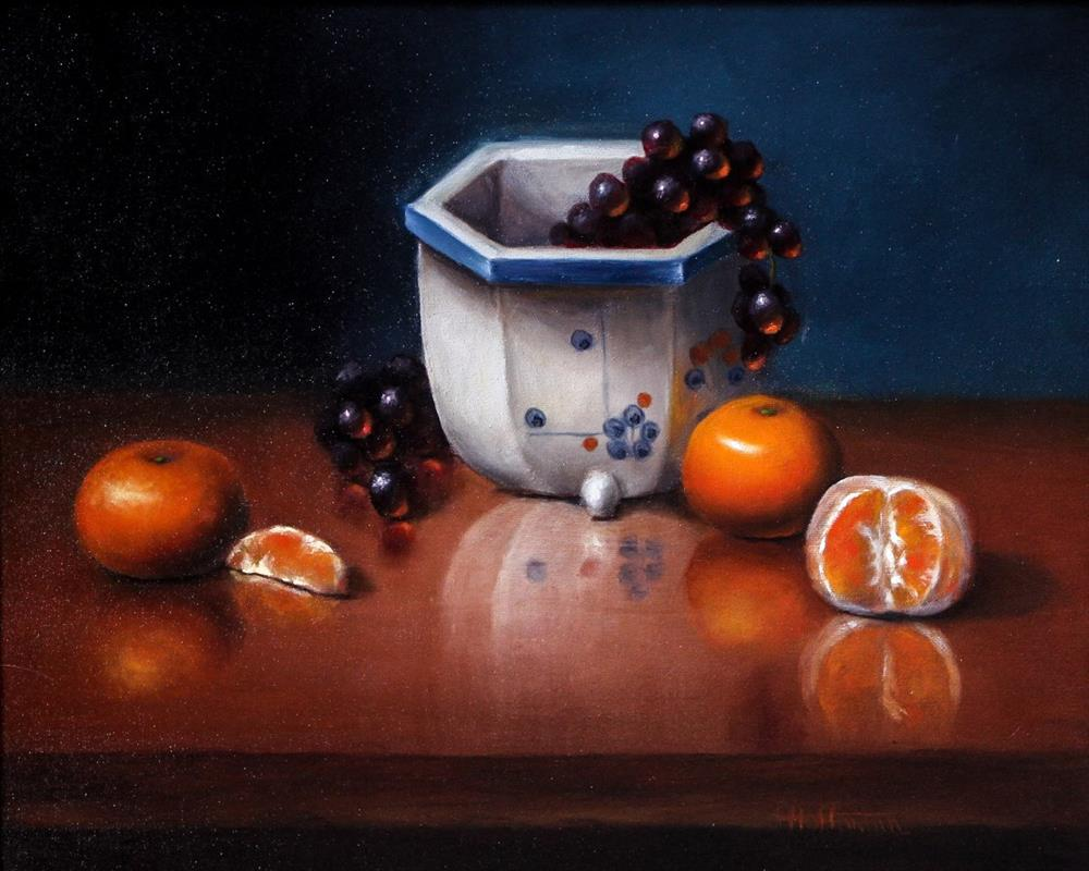 """Tangerine Reflections"" original fine art by Lina Ferrara"