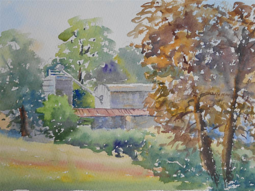 """Farm buildings from the village hall"" original fine art by Graham Findlay"