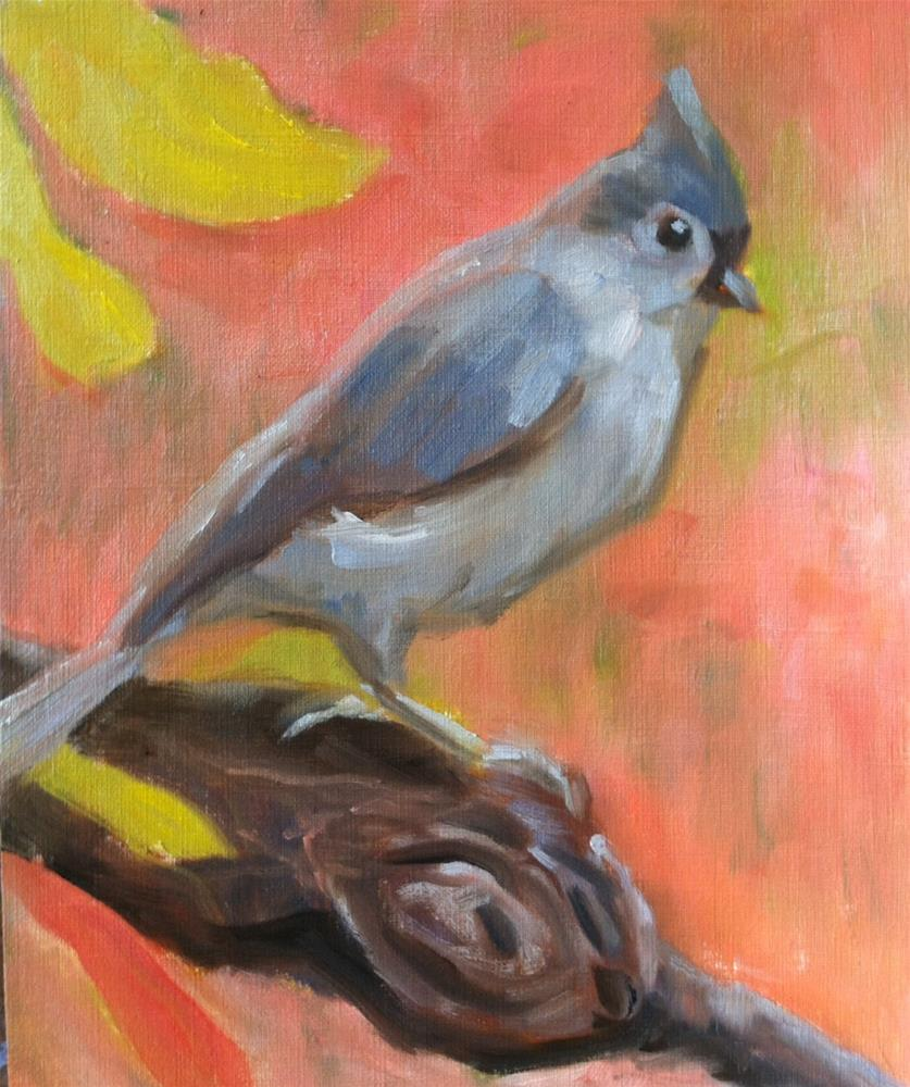 """""""Tufted Titmouse"""" original fine art by Katharine March"""