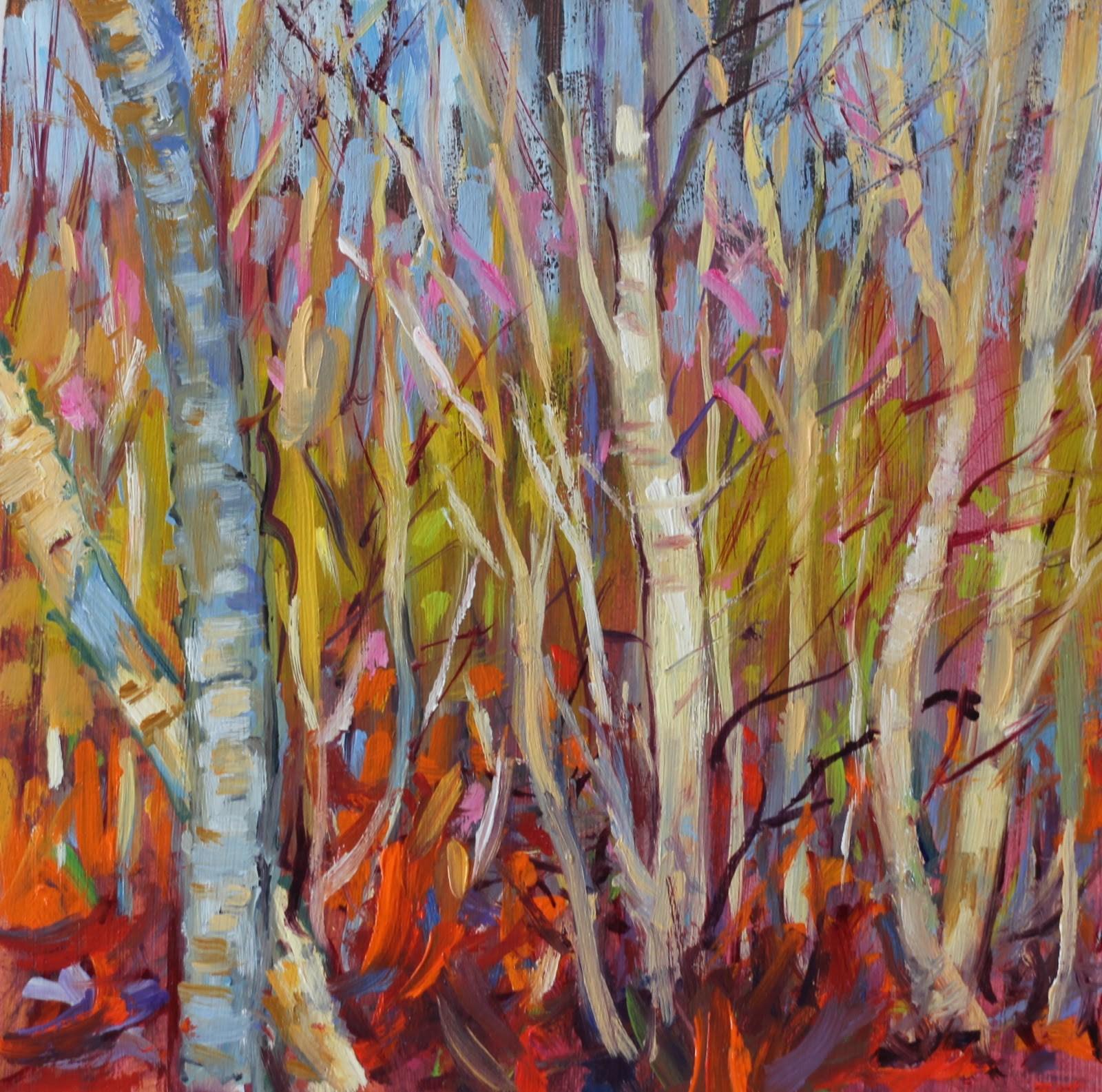 """""""Silver Birches Bathing"""" original fine art by Ken Devine"""