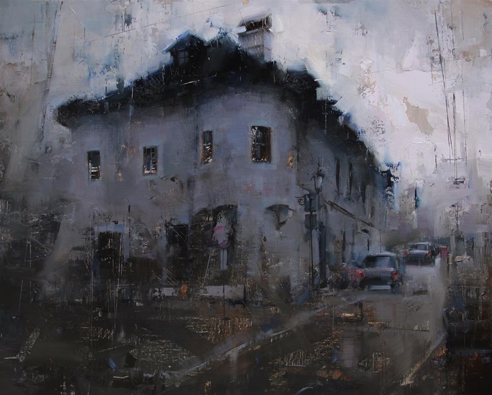 """Blackness Over the Lower Street"" original fine art by Tibor Nagy"
