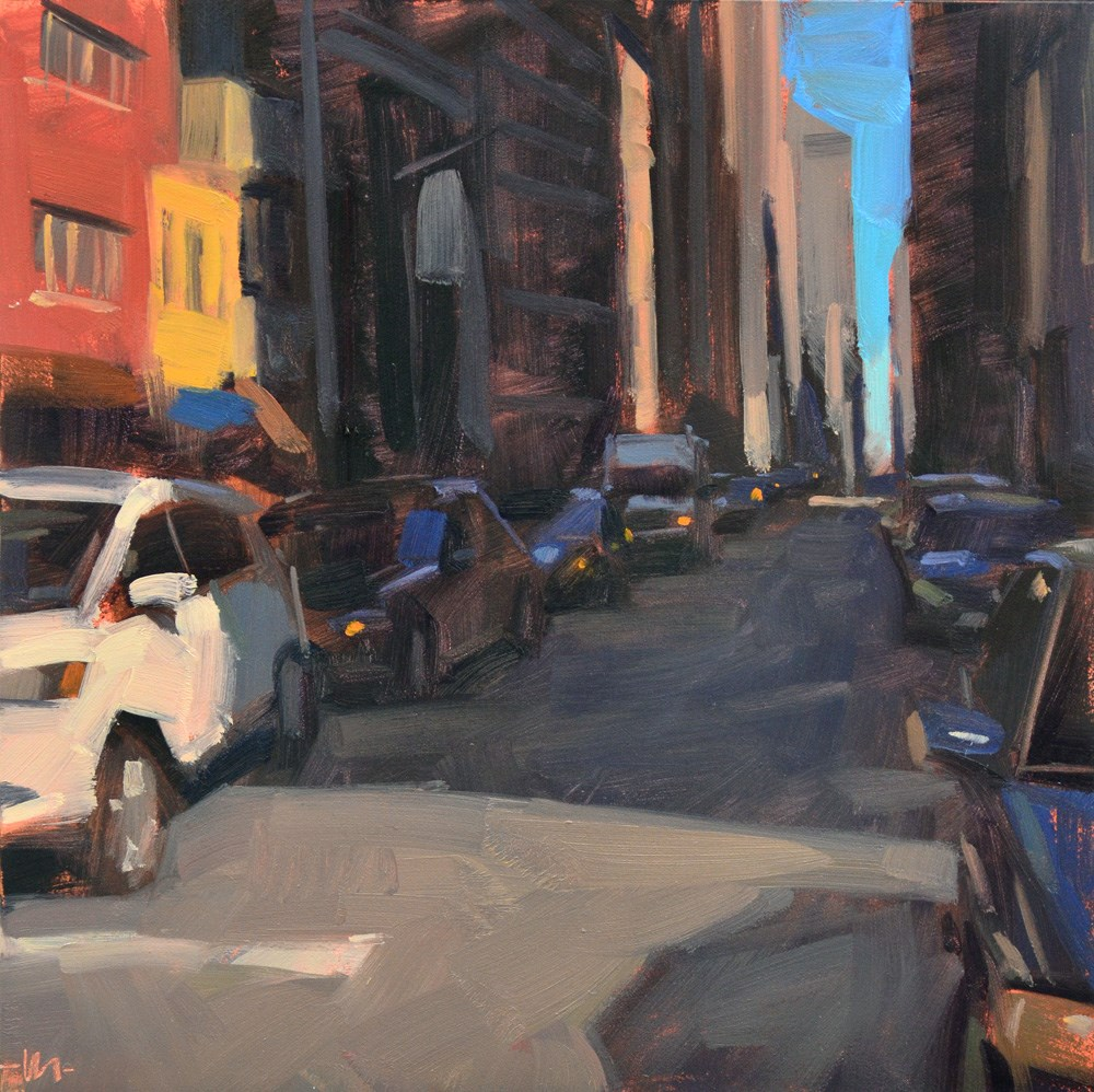"""Shadowy Street"" original fine art by Carol Marine"