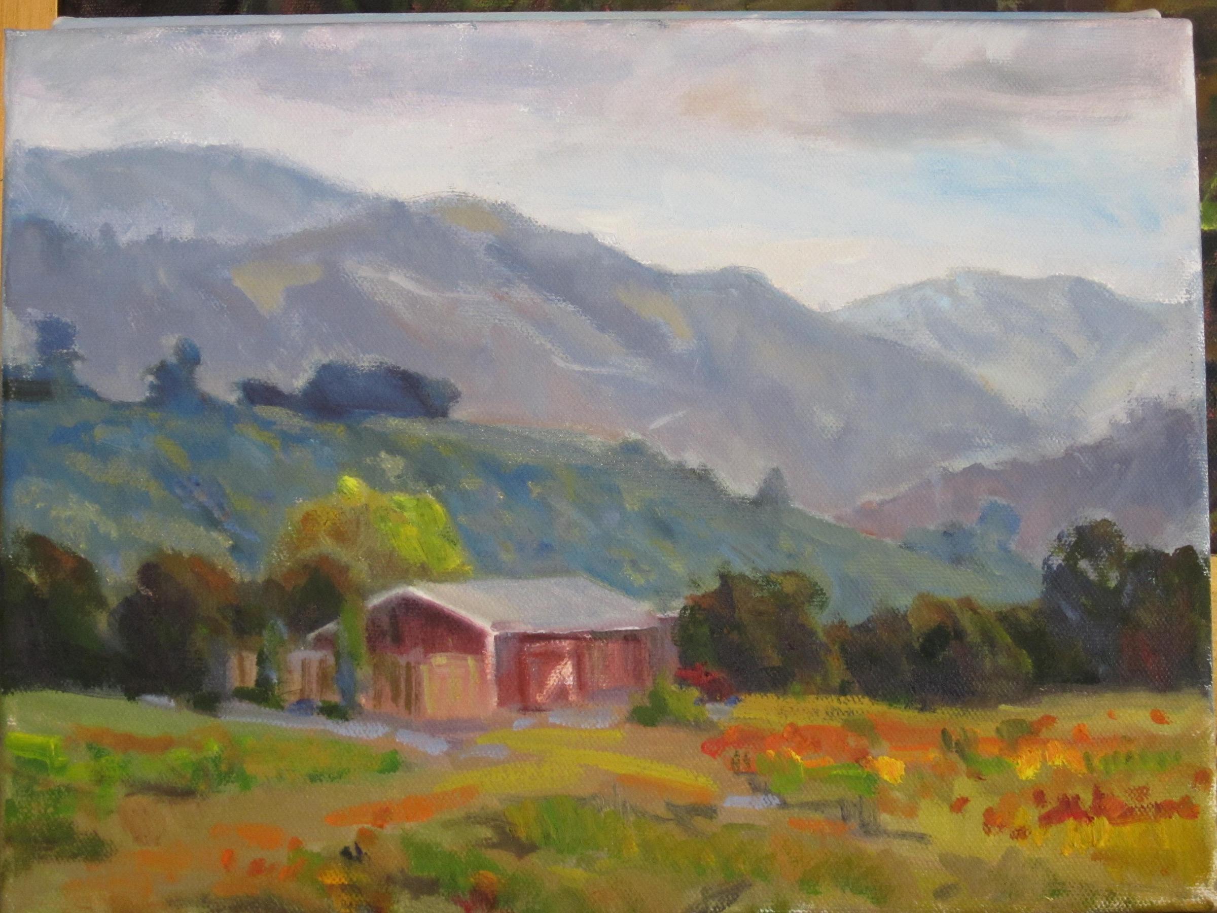 """red barn"" original fine art by Leigh Alexandra Sparks"