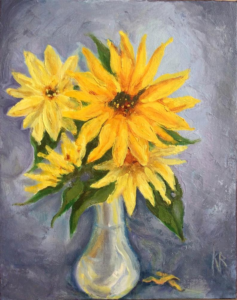 """Yellow and grey"" original fine art by Karen Roncari"