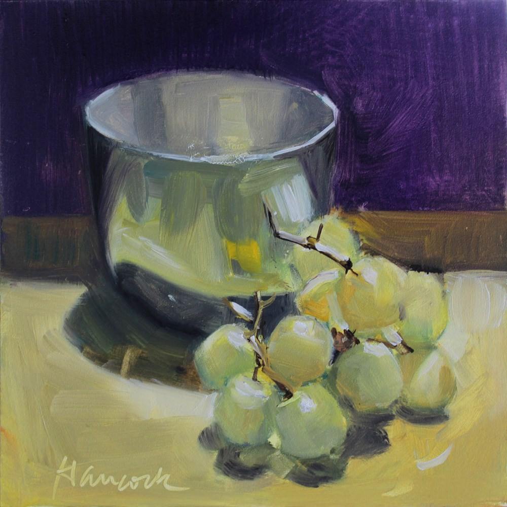 """Silver Cup, Green Grapes, on Purple and Gold"" original fine art by Gretchen Hancock"