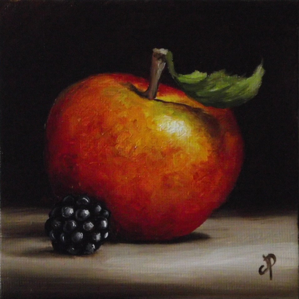 """Little Apple and Blackberry #4"" original fine art by Jane Palmer"