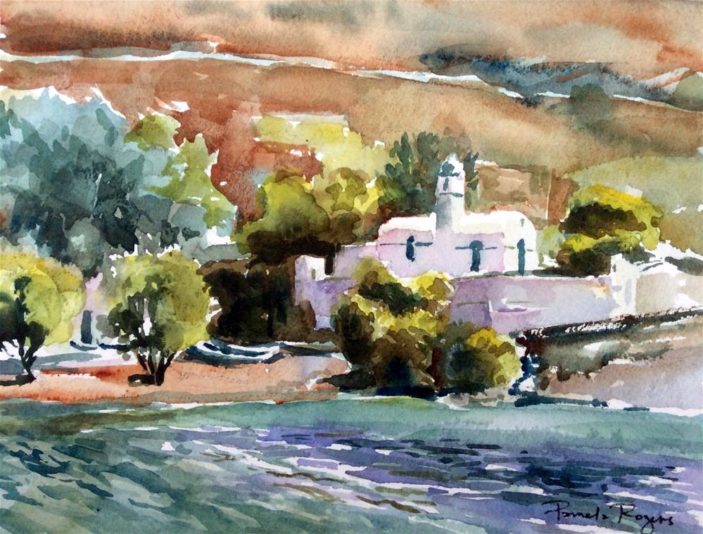 """Serifos Chapel, Greece"" original fine art by Pamela Jane Rogers"