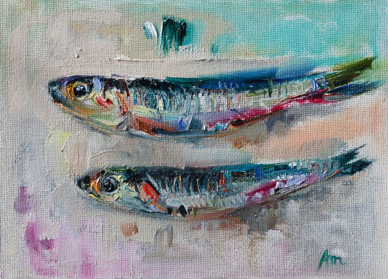 """Two Small Fishes"" original fine art by Anna  Fine Art"