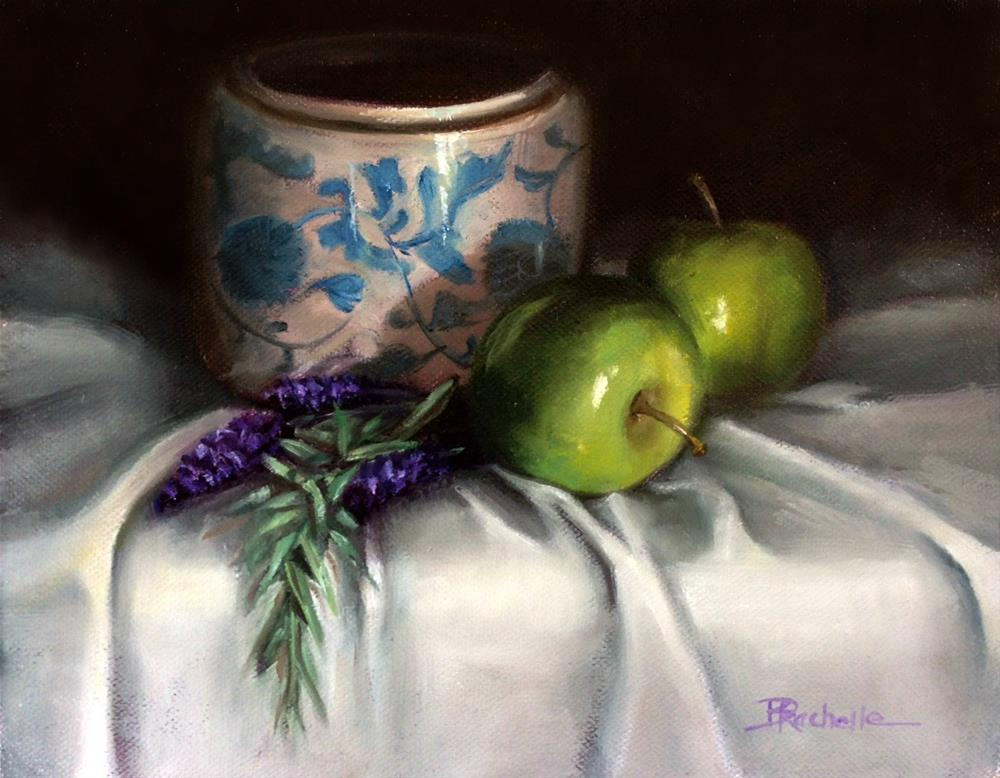 """lavender with blue jar"" original fine art by Beth Moreau"