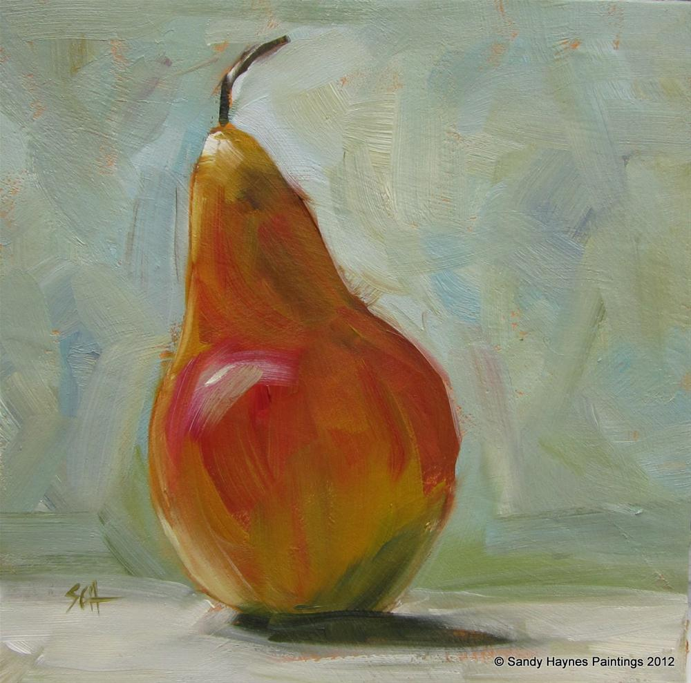"""Single Pear"" original fine art by Sandy Haynes"