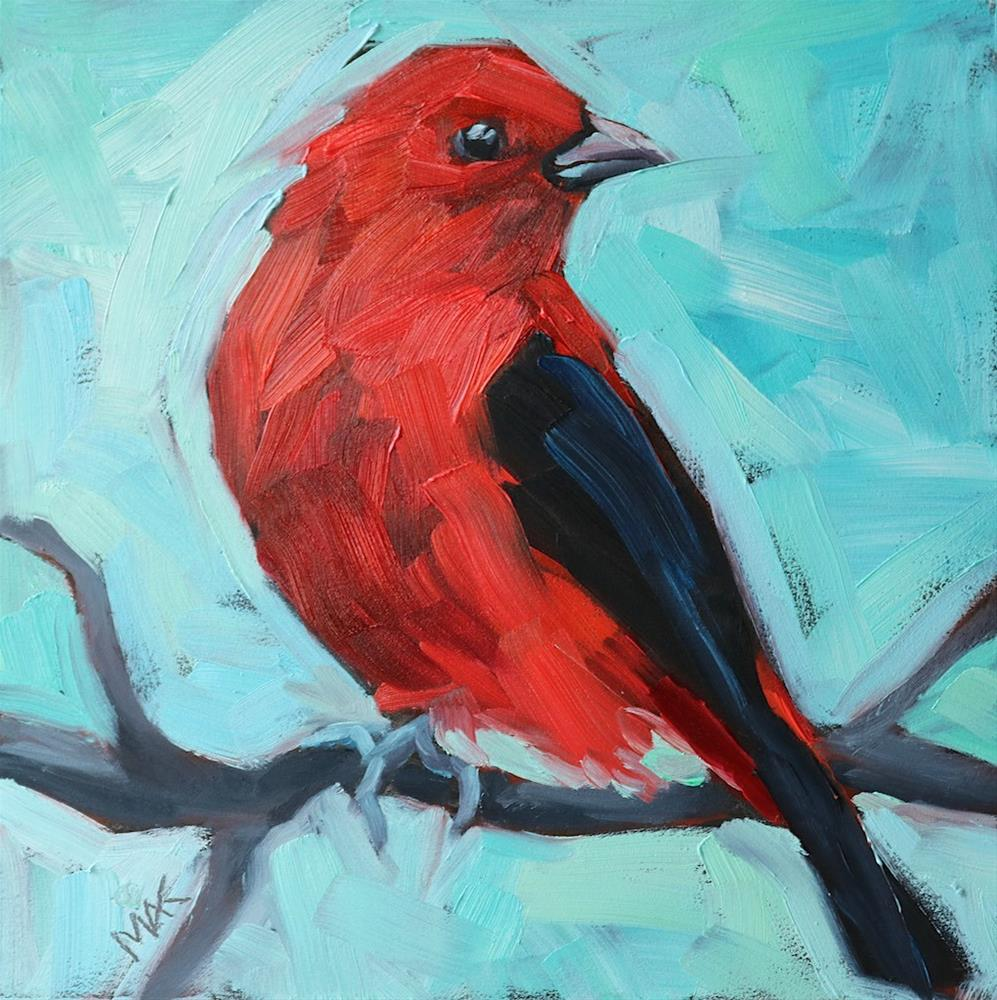 """Scarlet Tanager"" original fine art by Mary Anne Cary"