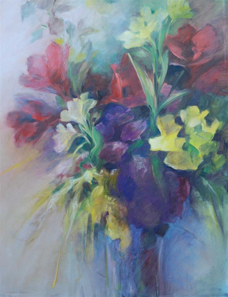 """""""Amaryllis bouquet"""" original fine art by Olga Touboltseva-Lefort"""