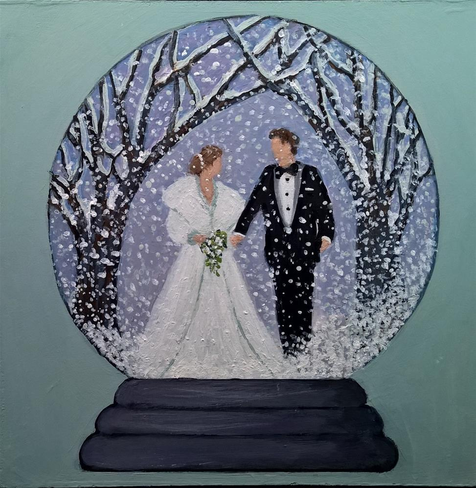 """Winter Wedding Snow Globe"" original fine art by Joan Matero"