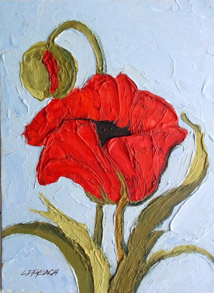 """Red Poppy"" original fine art by lynne french"