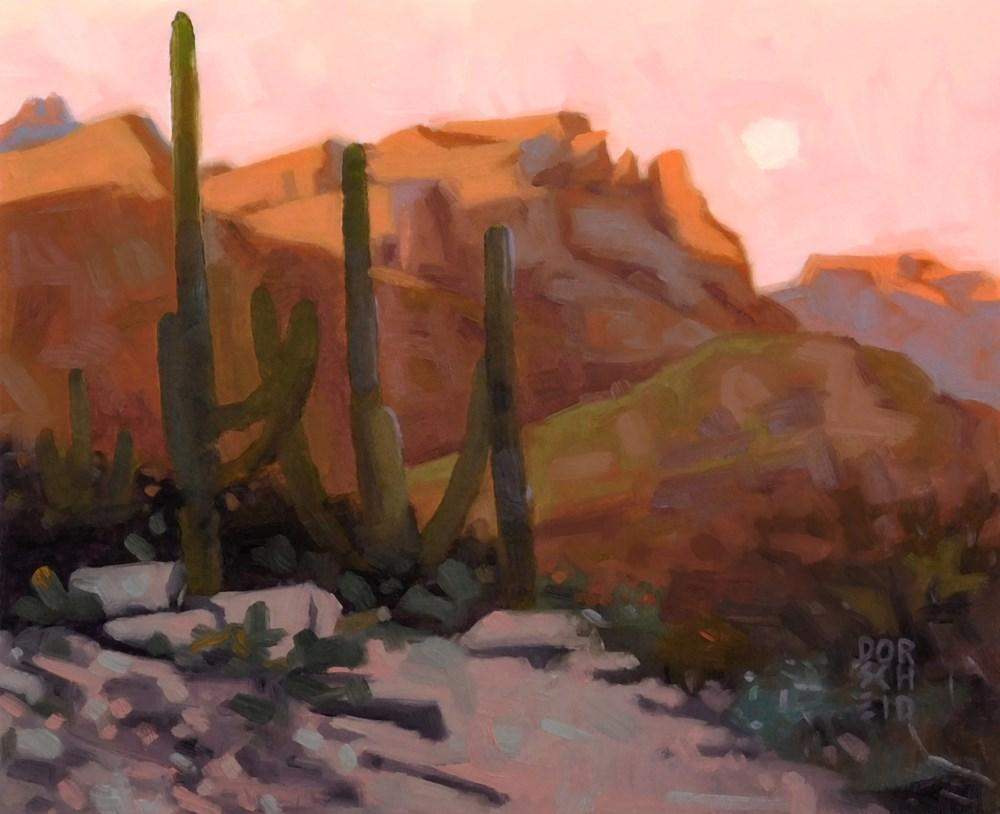 """Desert Moonrise"" original fine art by Les Dorscheid"