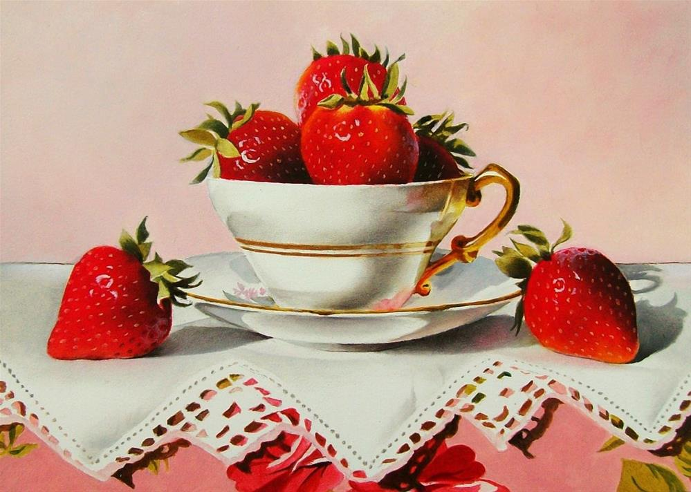 """Still Life with Strawberries, Tea Cup and Lace"" original fine art by Jacqueline Gnott, TWSA, WHS"