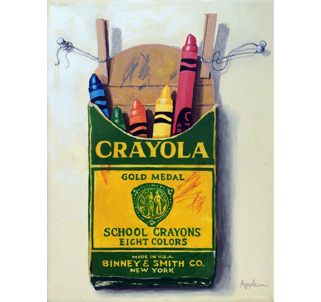 """Crayola Crayons original realistic painting of childrens crayons large Still Life"" original fine art by Linda Apple"