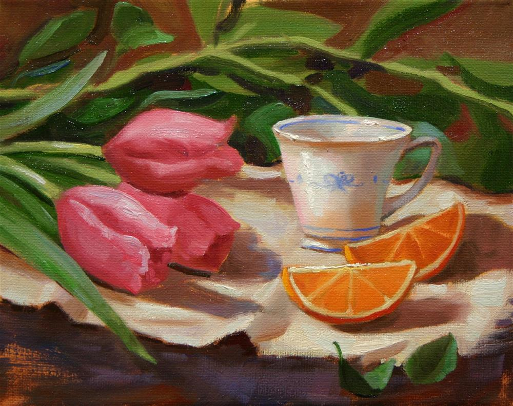 """Tulips and Tea Cups"" original fine art by K.R. McCain"