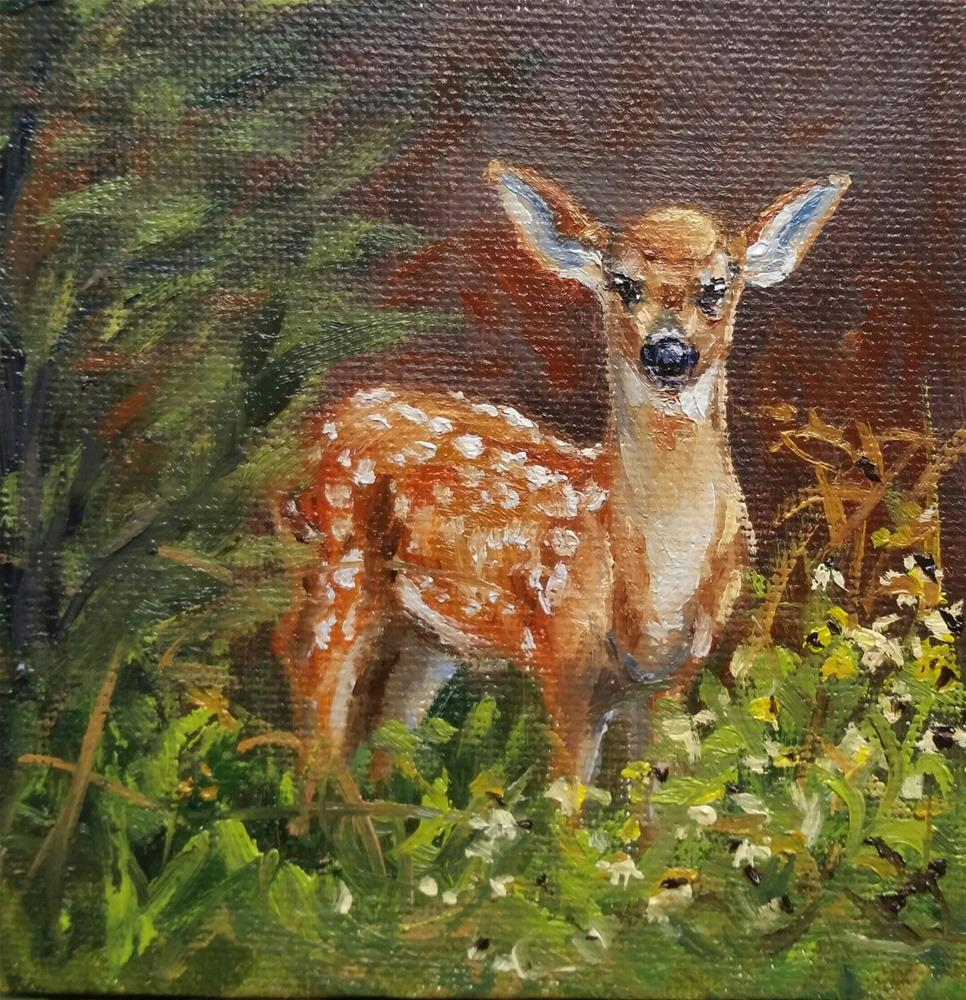 """Bambi-mini painting"" original fine art by Veronica Brown"